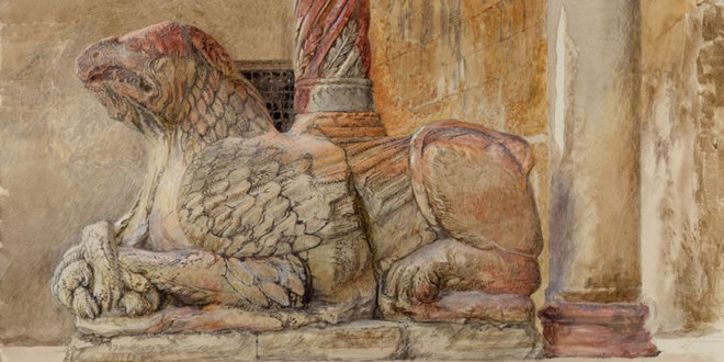 Ruskin, John. The Gryphon bearing the north Shaft of the west Entrance of the Duomo, Verona