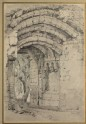 Recto: Ruined Gateway at Helmsley Castle. Verso: Sketch of a Standing Woman