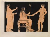 Print of the Decoration on a Greek Crater, showing Poseidon with a Young Man and a Young Woman
