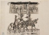 "Three armoured Horsemen carrying heraldic Banners (cut from a Plate in ""The Triumph of Maximilian"")"